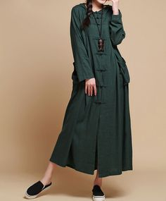 autumn Loose fitting Long Maxi dress linen Hooded long by MaLieb