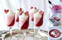3 Ingredient NO BAKE Strawberry Jello Parfaits for Valenine's day easy treats. food dessert Jell-O Strawberry Parfait Recipe that Looks Stunning Jello Parfait, Dessert Parfait, Strawberry Parfait, Parfait Recipes, Strawberry Jello, Strawberry Desserts, Mini Dessert Cups, Strawberry Pudding, Dessert Shots