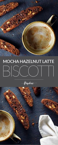 These Mocha Hazelnut Latte Biscotti are made with dark cocoa, coffee or hazelnut liqueur and ground espresso powder. With a healthy handful of toasted hazelnuts and chocolate-covered espresso beans, you'll never want your morning cup of coffee without one Chocolate Covered Espresso Beans, Chocolate Covered Coffee Beans, Chocolate Espresso, Chocolate Hazelnut, Homemade Chocolate, Chocolate Chips, Just Desserts, Dessert Recipes, Breakfast Recipes
