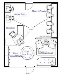 Beauty Salon Floor Plan Design Layout - 1160 Square Foot | Salon ...