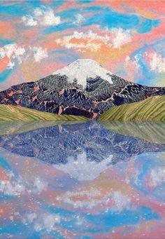 Orie's mountain art. #富士山 #Fujiyama #富士山イラスト #山アート #mountain #mountainillust Fuji, City Photo, Mountains, Nature, Painting, Travel, Inspiration, Biblical Inspiration, Naturaleza