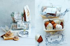 food gift packaging // idea concept styling: Dietlind Wolf // appetizer spreads and madeleines