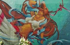 Graffiti : Detailed view on the mural painted by artists Gerso & X83 in villa de Bravo in Mexico. © Gerso