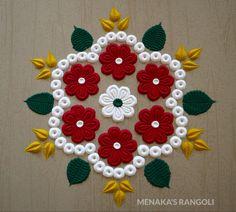 Easy And Innovative Rangoli Design Simple Rangoli Designs Images, Rangoli Designs Latest, Rangoli Designs Flower, Small Rangoli Design, Rangoli Ideas, Rangoli Designs With Dots, Rangoli Designs Diwali, Flower Rangoli, Easy Rangoli