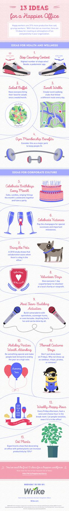 13 ideas for a happier office #infographic
