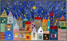 """Peace"" Tile and stained glass city scape mosaic"