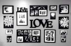 Wall decor collage: live, laugh, love Photo Wall Decor, Family Wall Decor, Wall Decor Pictures, Family Tree Wall, Frames On Wall, Wall Collage, Picture Arrangements, Basement Makeover, Love Wall