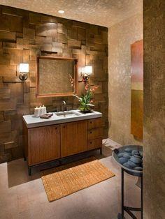 décoration salle de bain zen - panneau mural 3D en bois, meuble sous-vasque en…