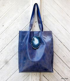 real leather tote bag with real agate stone by Stacy Leigh