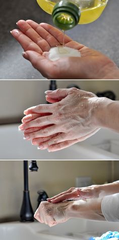 hand scrub easy with 2 products.olive oil and sugar scrub hands well rinse with luke warm water.beautiful soft hands