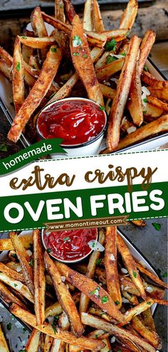 This potato side dish is sure to become a staple in your house! Thanks to this foolproof method, you can have homemade baked french fries that come out perfect every time for your dinner ideas. Save this easy oven fries recipe! Oven Baked French Fries, Potato Side Dishes, Fries In The Oven, Dinner Dishes, Appetizer Recipes, Appetizers, Cheap Meals, Side Dish Recipes, Quick Easy Meals
