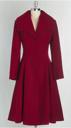 Intrigue All About it Coat in Crimson, Mod Cloth $169.99 modcloth.com