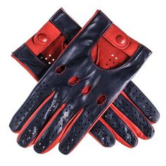 Navy and Red Italian Leather Driving Gloves
