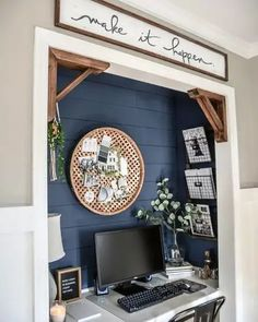 Looking for chick home office design, layout, and decor ideas? Our Home Office Ideas board is full of the best tips, tricks, and hacks for home office space organization and decor Home Office Closet, Home Office Space, Home Office Design, Home Office Decor, Closet Desk, Tiny Home Office, Small Office Decor, Basement Office, Small Space Office