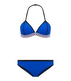 Teens Blue Aztec Trim Bikini | New Look