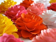 The Rosetta Paper Flowers - ASSORTED COLORS - Pack of 40 - Made To Order. $50.00, via Etsy.
