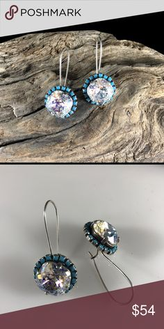Handcrafted earrings made with Swarovski crystal This listing is for an exquisite pair of sparkly crystals in a silver kidney earwire cushion setting surrounded by tiny turquoise crystals. Feel like a princess in these. Hubby & I make jewelry using genuine Swarovski crystals. Nickel free. All items are much prettier in person. Proceeds used to help our 5-yr-old granddaughter Lila May in her fight against cancer, but she lost her battle. Now she is dancing with angels.  A % of profit will go…