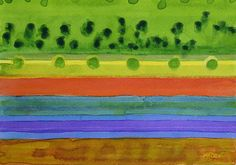 Plain With Red Field by Heidi Capitaine #Art#Artist#Painting#Contemporary#Watercolour#Abstract#FineArt#WallArt#Stripes#Landscape