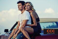 Anja Rubik poses with her husband Sasha Knezevic for CCC SS 2015
