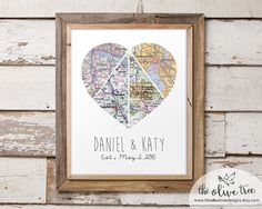 Customized Heart Map Art Printable Four Piece Map Custom