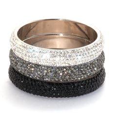 Bridal Boutique Glittering Crystal Medium Bangle Silver