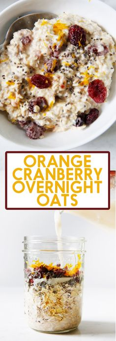 This Orange Cranberry Overnight Oats recipe is the best make-ahead breakfast. It's creamy (without any dairy) and bursting with seasonal flavor. Make Ahead Breakfast, Breakfast Ideas, Bacon Breakfast, Mexican Breakfast, Breakfast Sandwiches, Breakfast Cookies, Breakfast Dishes, Breakfast Time, Almond Milk