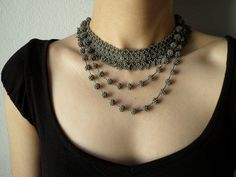 Hey, I found this really awesome Etsy listing at https://www.etsy.com/listing/210159419/gray-beaded-crochet-necklace-grace