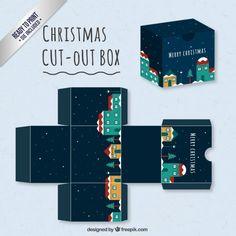 Caja linda con un pueblo navideño Vector Gratis