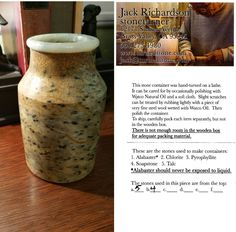 Received this lovely gift for my birthday - a jar of soapstone and talc created by Jack Richardson. Hoping that one of his bowls is in my future. :)