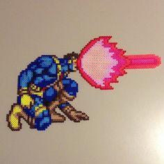 Cyclops X-Men perler bead sprite by saladbrains