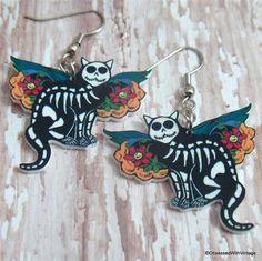Day of the Dead cat earrings