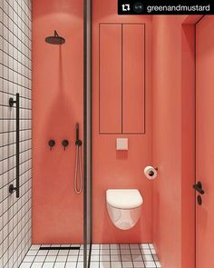coral walls contrast white tiles with black grout to make up a bold and unusual bathroom Bathroom Interior Design, Decor Interior Design, Interior Decorating, Decorating Games, Design Interiors, Interior Accessories, Bathroom Accessories, Bad Inspiration, Bathroom Inspiration