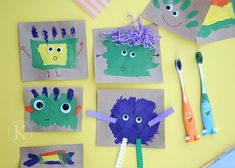 such a good idea. Use an old tooth brush to have your 1 or 2 year old to paint with!