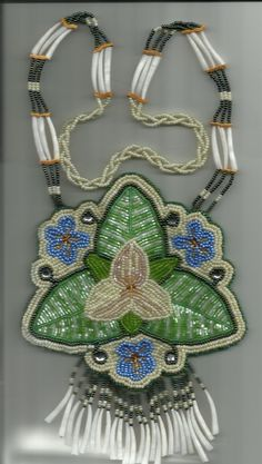 Native American Beaded Trillium Necklace/ Ornament Powwow. $125.00, via Etsy.  --- Georgous, absolutely georgous!