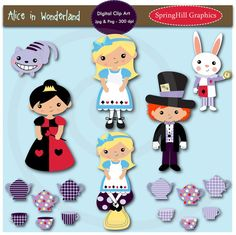 Instant Download Alice in Wonderland Digital Clip Art for Card Making, Web Design, Scrapbooking - Personal and Commercial use