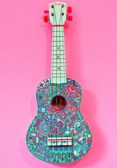 Ukulele by Adrift-Dreams on DeviantArt Ukulele Art, Cool Ukulele, Ukulele Songs, Guitar Art, Ukulele Tumblr, Painted Ukulele, Sharpie Designs, Ukulele Design, Pop Art