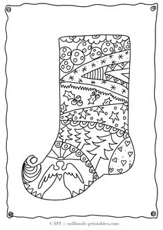 Christmas Stocking to Color Free printable Christmas Coloring Pages for Kids, detailed adult coloring pages add to the fun, prnt onto watercolor paper with a laser printer and use watercolors to decorate. for our german visitors - kostenlose malvorlagen Weihnachten, Weihnachtsstiefel, Ausmalbilder fuer Kinder zum Ausdrucken