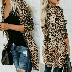 Hot Women's Autumn Leopard Print Sweater Cardigan Coat Jacket Long Sleeve V-neck Casual Fall Outfits, Summer Outfits, Coats For Women, Clothes For Women, Autumn Winter Fashion, Blazers, Fashion Outfits, Leopard Jacket, Leopard Cardigan