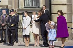 Queens & Princesses - The entire royal family appeared in the forecourt of the Palace of Stockholm to celebrate King Carl Gustav's 69th Birthday.