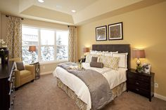 Would LOVE to do this in our guest bedroom! Pulte Homes, Model Homes, Master Suite, Suits, Staging, Furniture, Bedrooms, House Ideas, Home Decor