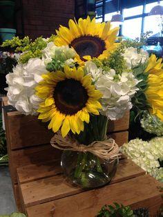 Sunflower and hydrangea flower arrangement ~ beautiful!