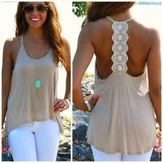 <3 white pants tan top wth necklace