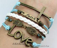 Light blue wax cord white woven rope jewelryAntique by vividiy, $5.99