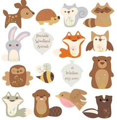 Here are both sets of my printable woodland animals. Don't they look cute altogether? PDFs available at my #etsy shop. #littledear #etsyshop #woodlandanimals #printables #diy #partydecor #scrapbooking #cardmaking