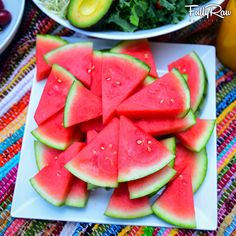 There's no better way to cool down than with a platter of sweet pink, juicy, WATERMELON!  Who wants a wedge?! ☝️ #FullyRaw #SummerLove #vegan #fruit