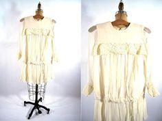 1960s dress 60s cream lace vintage dropwaist by StorylandVintage