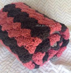 Crochet Baby Blanket Baby Shower Gift Striped by HookYarnAndHooper
