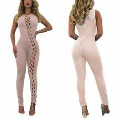 UUYUK Women Strapless Sleeveless Sheer Mesh See-Through Wide Leg Rompers Jumpsuit
