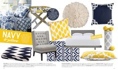 Embracing my ochre sectional with navy and yellow! Living Room Inspiration