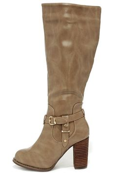 Moto Maven Taupe Knee High Heel Boots..... I must have these